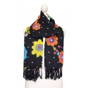 Black scarf printed with polka dots and floral motifs