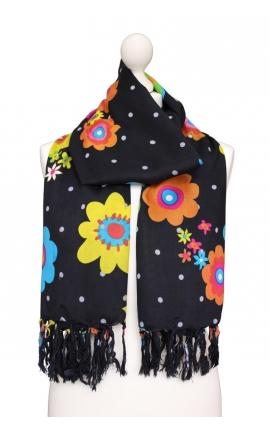 Pañuelo de lunares negro estampado con motivos florales
