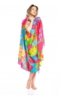 Pink beach wrap printed with floral motifs