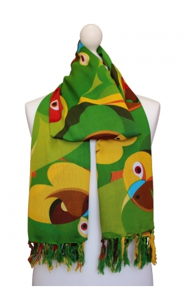 Scarf decorated with parrots in a green colour scheme