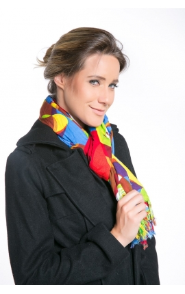 Colourful Foulard printed with macaws