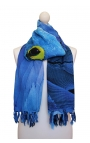 Scarf decorated with a blue macaw
