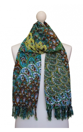Scarf decorated with a peacock