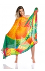 Women's foulard decorated with tropical colours