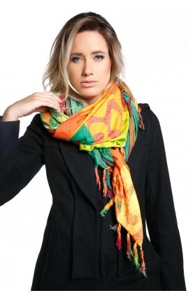 Fular de mujer con estampado tropical multicolor