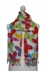 White Scarf printed with colourful butterflies