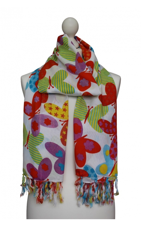Pañuelo blanco con estampado de mariposas coloridas