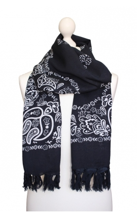 Pañuelo multiusos Bandana Negro ónix con estampado tipo cachemira 1