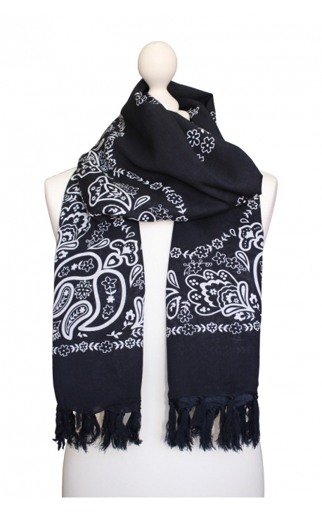 Scarf decorated in Kashmir style - Black Onyx Bandana