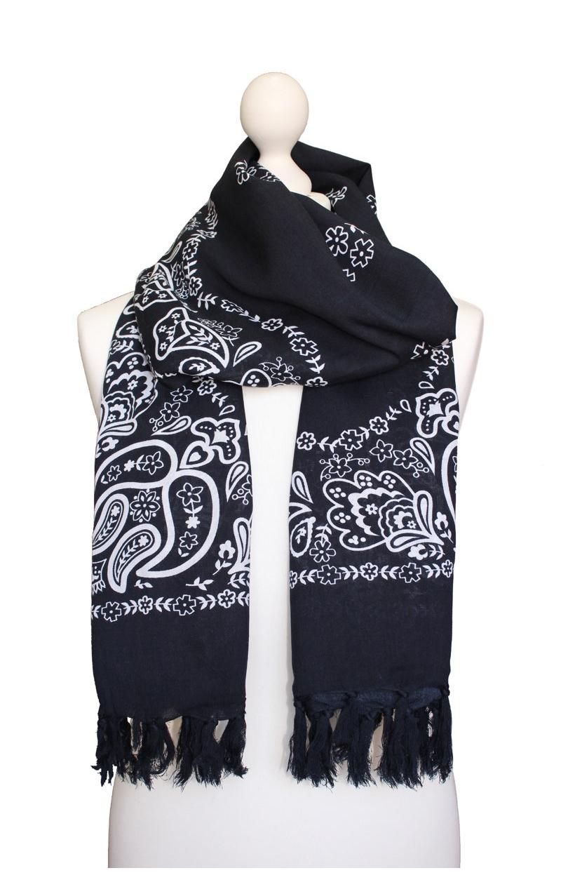 Scarf Decorated In Kashmir Style Black Onyx Bandana