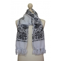 Scarf decorated in Kashmir style - White bandana