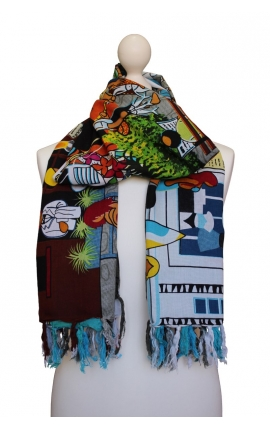 Printed scarf - Buzios Cartoon