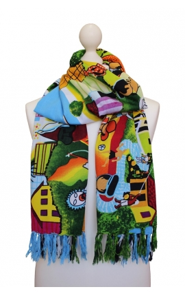 Multipurpose printed scarf - Rio Cartoon