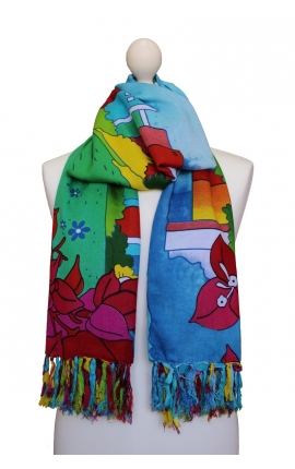 Big printed foulard - Laguna Cartoon