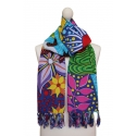 Multipurpose naif printed scarf - Tropical Birds Cartoon
