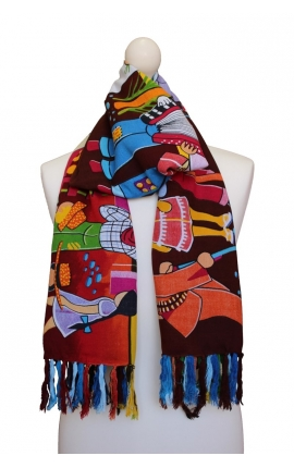 Colourful printed scarf - Open-air Dance Cartoon