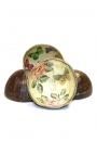 Cuencos de madera de coco customizados flores