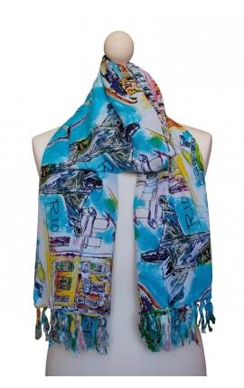 Colourful Kerchief - watercolour style with Rio de Janeiro motifs