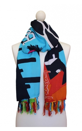 Pañuelo multicolor con motivos de playa