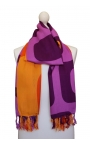 Fringed shawl with orange and purple print