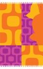 Pañuelo con flecos naranja y morado