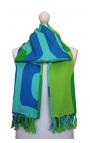 Toalla pareo con flecos verde y azul