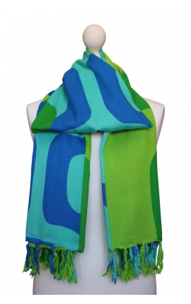 Fringed beach wrap with green and blue print
