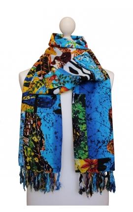 Fular estampado en tonos de azules estilo puzzle