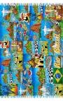 Printed Foulard - blue puzzle style