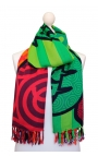 Scarf printed with a coloured stained glass style