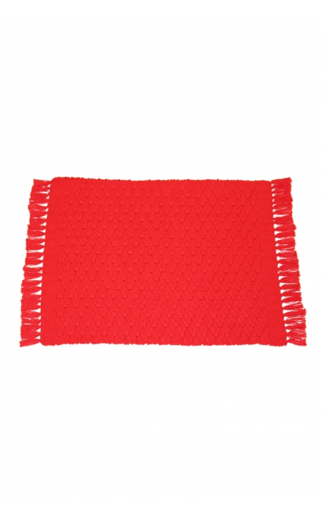 Red individual tablecloths handmade of organic cotton