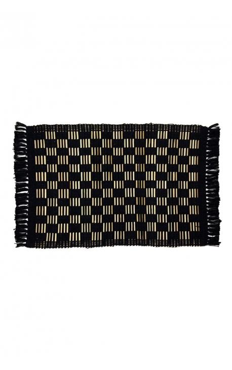 Black placemats handmade of coconut sticks