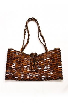 Craft handbag made of wood - Brown
