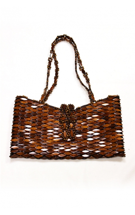 Craft handbag made of wood - Brown