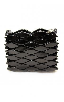Craft purse handmade of wood - Black