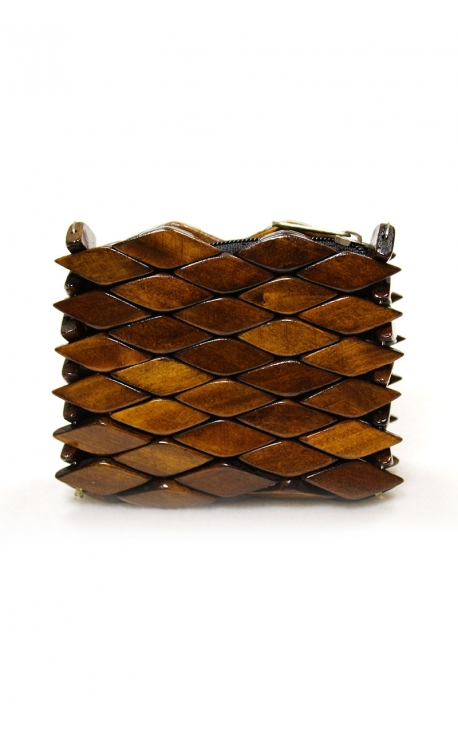 Eco-friendly handmade wooden purse - Brown