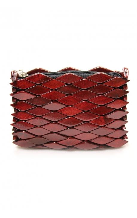 Cartera monedero artesanal hecha en madera - Color burdeos