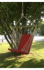 Outdoor Hanging Chair - Red Brazilian Backed Hanging Chair