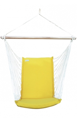 Outdoor Hammock Chair - Yellow Brazilian Backed Hanging Chair