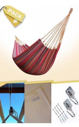 Pack Hamaca Colgante Doble Brasileña de Colores + Cojín + Anclajes