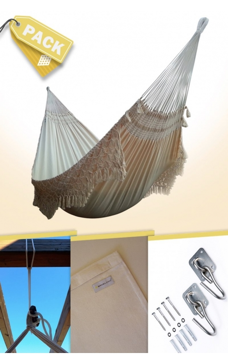 Pack Family-size Natural Brazilian Hammock + Cushion + Attachments