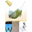 Pack Two-person Soft Green Brazilian Hammock + Cushion + Attachments