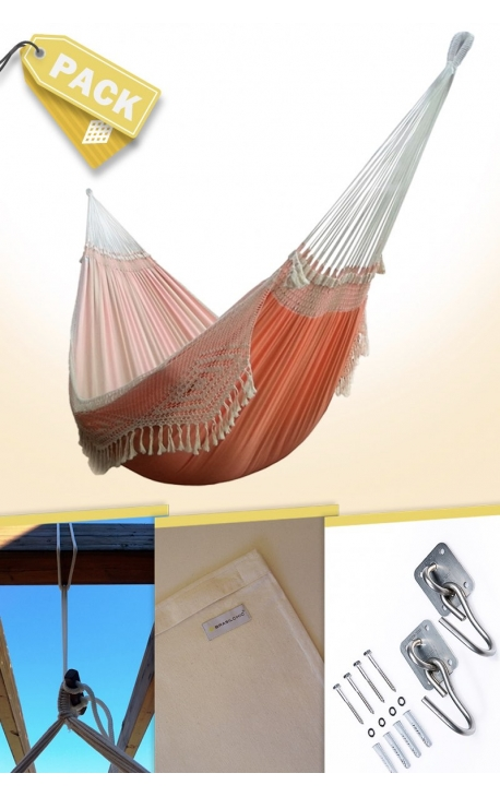 Pack Two-person Soft Orange Brazilian Hammock + Cushion + Attachments