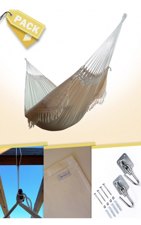 Pack Two-person Natural Brazilian Hammock + Cushion + Attachments
