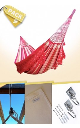 Pack Two-person Original Brazilian Hammock + Cushion + Attachments