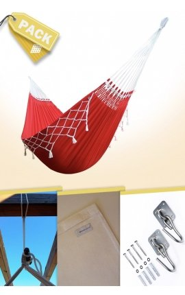 Pack Two-person Red/Green Brazilian Hammock + Cushion + Attachments