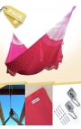 Pack Two-person Pink Brazilian Hammock + Cushion + Attachments