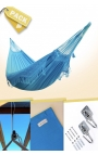 Pack Two-person Turquoise Brazilian Hammock + Cushion + Attachments