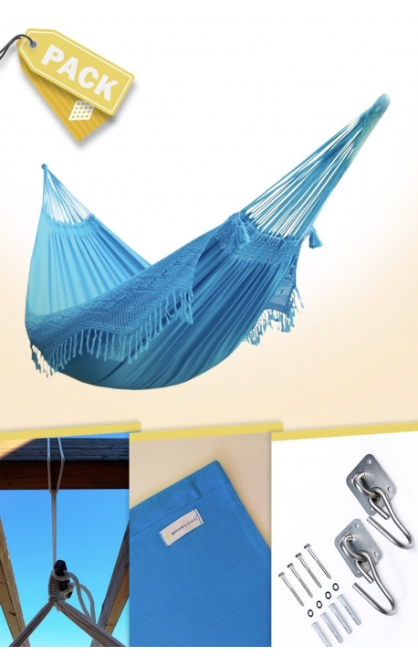 Hamaca Colgante Doble Brasileña Azul Turquesa