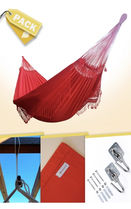 Pack Two-person Red Brazilian Hammock + Cushion + Attachments